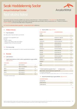 Sıcak Haddelenmiş Saclar fiyat ekstra listesi - Industry