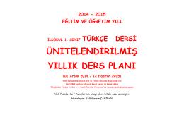 Türkçe Yıllık Ders Planı
