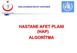 HASTANE AFET PLANI 2014 organizasyon şeması