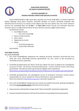 dumlupınar üniversitesi dış ilişkiler koordinatörlüğü 2013/2014