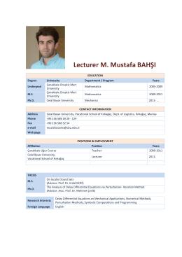 Lecturer M. Mustafa BAHŞI - celal bayar üniversitesi kırkağaç