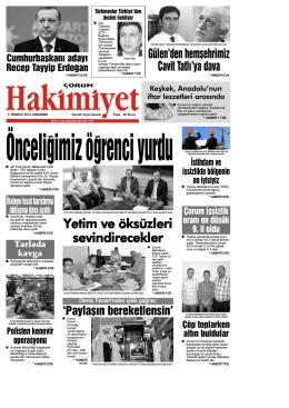 02 Temmuz 2014 Çarşamba - Çorum Hakimiyet Gazetesi