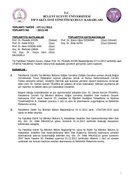 07/11/2013 Tıp Fakültesi Yönetim Kurulu Kararı