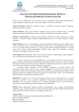 Yazım Esasları - Mühendislik Mimarlık Fakültesi