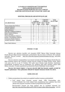 Doktora - ÇOMÜ - Sosyal Bilimler Enstitüsü