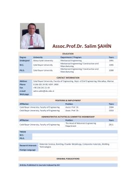 Assoc.Prof.Dr. Salim ŞAHİN - Celal Bayar Üniversitesi
