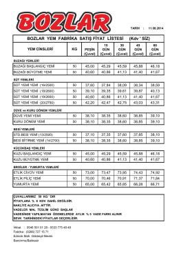 11.08.2014 yem fiyat listesi için tıklayın.