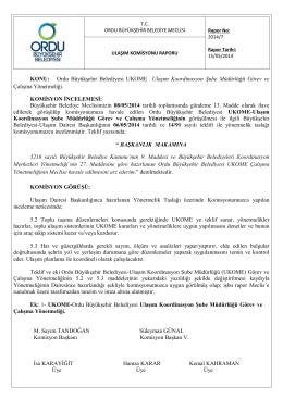 KONU: Ordu Büyükşehir Belediyesi UKOME Ulaşım Koordinasyon