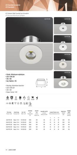 • Gövde: Alüminyum enjeksiyon • LED: COB LED