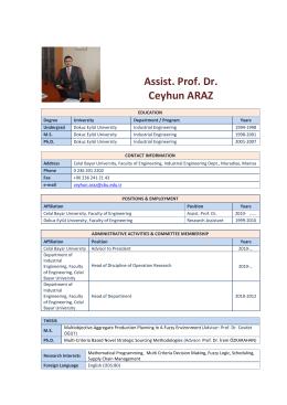 Assist. Prof. Dr. Ceyhun ARAZ