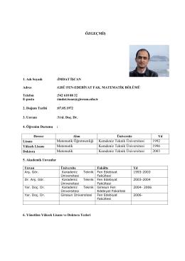 Yrd.Doç.Dr. İmdat İŞCAN - Fen Edebiyat Fakültesi Matematik Bölümü