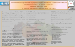 International Workshop on Food Packaging: Balancing Functionality