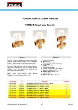 TOTALINE FAN COIL TERMİK VANALARI - isk