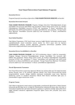 Yeni Yüzyıl Üniversitesi Yaşlı Bakımı Programı