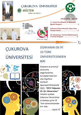 pdf formatında - Çukurova Üniversitesi Haber Merkezi