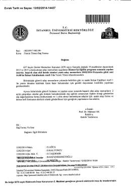 I~Q~6Utll!!leltDelRik imzalar - İstanbul Üniversitesi | Personel Daire