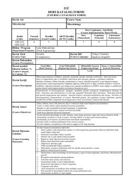 GID 222 - İTÜ Gıda Mühendisliği Bölümü
