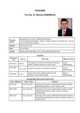 Yrd. Doç. Dr. Mehmet DEMİRBİLEK