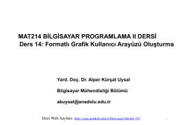MAT214 BİLGİSAYAR PROGRAMLAMA II DERSİ Ders 14: Formatlı