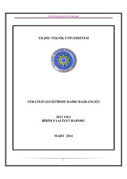 yıldız teknik üniversitesi strateji geliştirme daire başkanlığı 2013 yılı