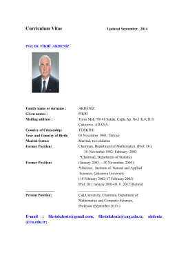 Curriculum Vitae - Çağ Üniversitesi