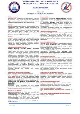 Klinik Biyokimya Dökümanı - KBUDEK Eksternal Kalite Kontrol