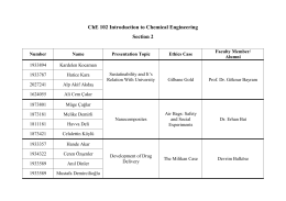ChE 102 Introduction to Chemical Engineering Section 2