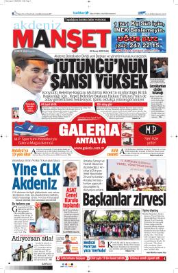 ANTALYA - Akdeniz Manşet