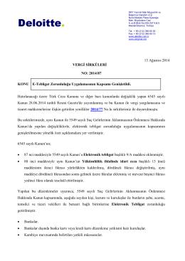 13 Ağustos 2014 VERGİ SİRKÜLERİ NO: 2014/87