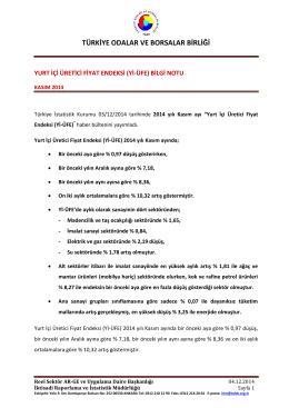 2014 Yılı Kasım Ayı Yurt İçi Üretici Fiyat Endeksi B.N.