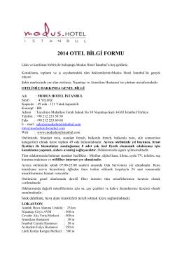 Fact Sheet - Modus Hotel - İstanbul