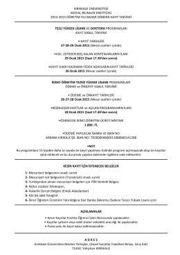 kırıkkale üniversitesi sosyal bilimler enstitüsü 2014