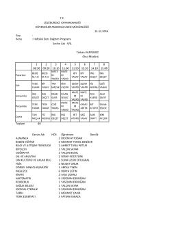 5 Ocak 2015 Sınıf Ders Programları