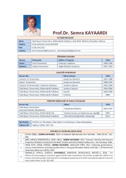Prof.Dr. Semra KAYAARDI - Celal Bayar Üniversitesi