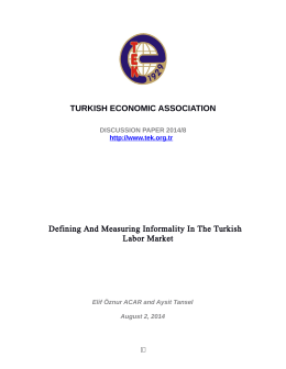 TURKISH ECONOMIC ASSOCIATION Defining And Measuring