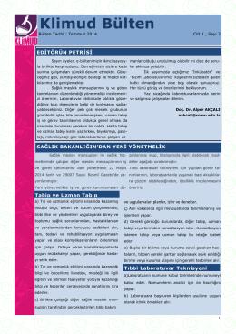 KLİMUD e-bülten Temmuz - Klinik Mikrobiyoloji Uzmanlık Derneği