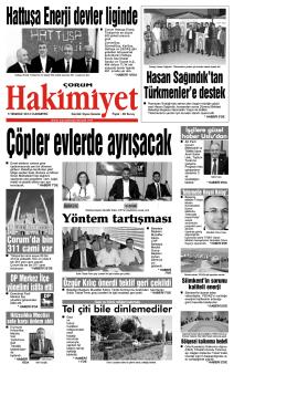 05 Temmuz 2014 Cumartesi - Çorum Hakimiyet Gazetesi
