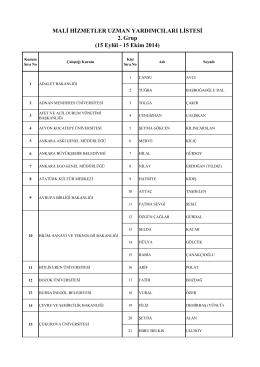 MALİ HİZMETLER UZMAN YARDIMCILARI LİSTESİ 2. Grup (15