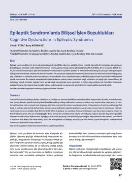 Epileptik Sendromlarda Bilişsel İşlev Bozuklukları