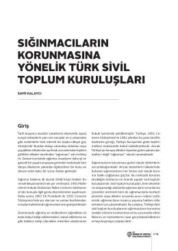 sığınmacıların korunmasına yönelik türk sivil toplum kuruluşları