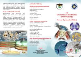 Tarımsal Biyoteknoloji Bölümü - E-Universite