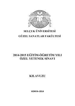 2014-2015 eğitim-öğretim yılı özel yetenek sınavı kılavuzu