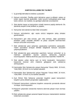 KAMYON KULLANMA İSG TALİMATI 1. İş güvenliği talimatlarına