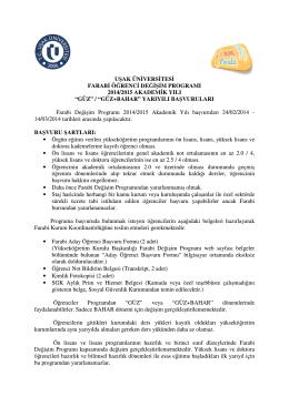 uşak üniversitesi farabi öğrenci değişim programı 2014/2015