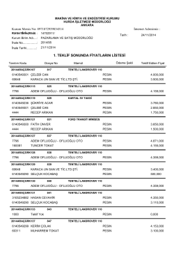 21.11.2014 araç ihalesi teklif listesi