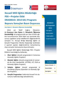 2014 teklif çağrısına ait ERASMUS+ programı, KA1 proje teklifleri