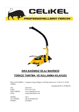 sıra bağımsız silaj makinesi türkçe tanıtma ve kullanma kılavuzu