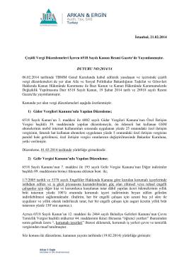 2014-14 Çeşitli Vergi Düzenlemeleri İçeren 6518