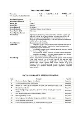 TCH Özel Hükümler - Jandarma Genel Komutanlığı