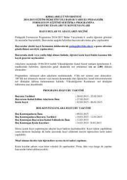 kırklareli üniversitesi 2014-2015 eğitim